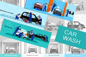 Car wash full service vector set