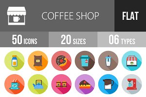 50 Coffee Shop Flat Shadowed Icons