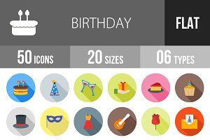 50 Birthday Flat Shadowed Icons