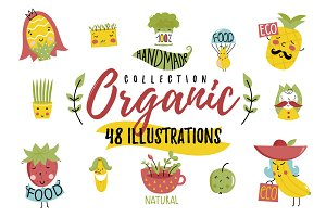 Cartoon style eco food icon set
