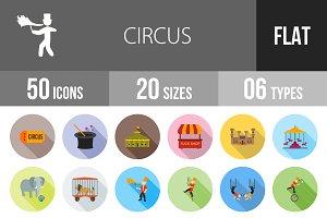 50 Circus Flat Shadowed Icons