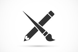 Crossed pencil with paint brush icon