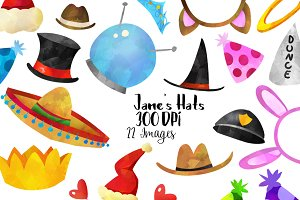 Watercolor Festive Hats Clipart