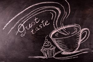 text great teste on blackboard the  chalk painted cup of coffee