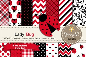 Lady Bug Digital Paper and Clipart