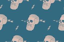 Seamless pattern. Hipster skull
