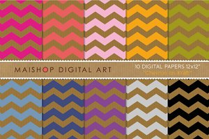 Digital Papers - Chevron on Kraft