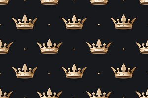 Pattern with gold king crown