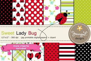 Spring Lady Bug Digital Paper Clipar