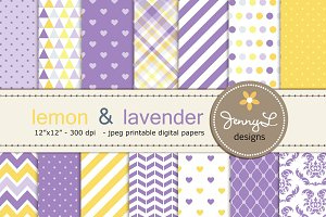 Lemon and Lavender Digital Papers