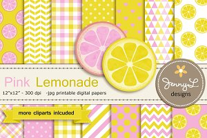 Pink Lemonade Digital Paper &Clipart