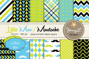 Little Man Mustache Digital Papers