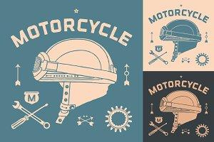 Vintage race motorcycle helmet