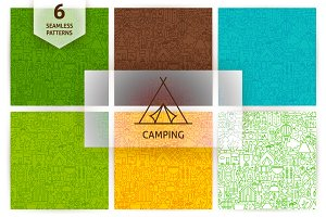 Camping Line Seamless Patterns