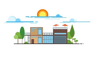 Flat design modern house vector