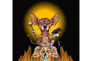 Devil dog-Halloween concept