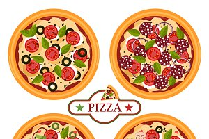 Pizza italian cook vector set