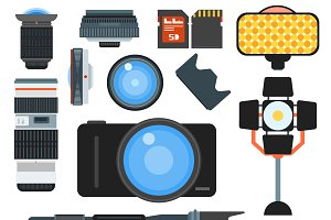 Camera lens flat icons vector