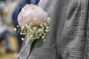 Close up of peony corsage