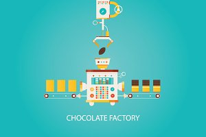 Illustration of chocolate factory