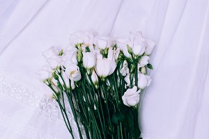white flowers. Minimalist fashion