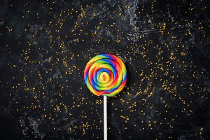 Rainbow lollipop candy