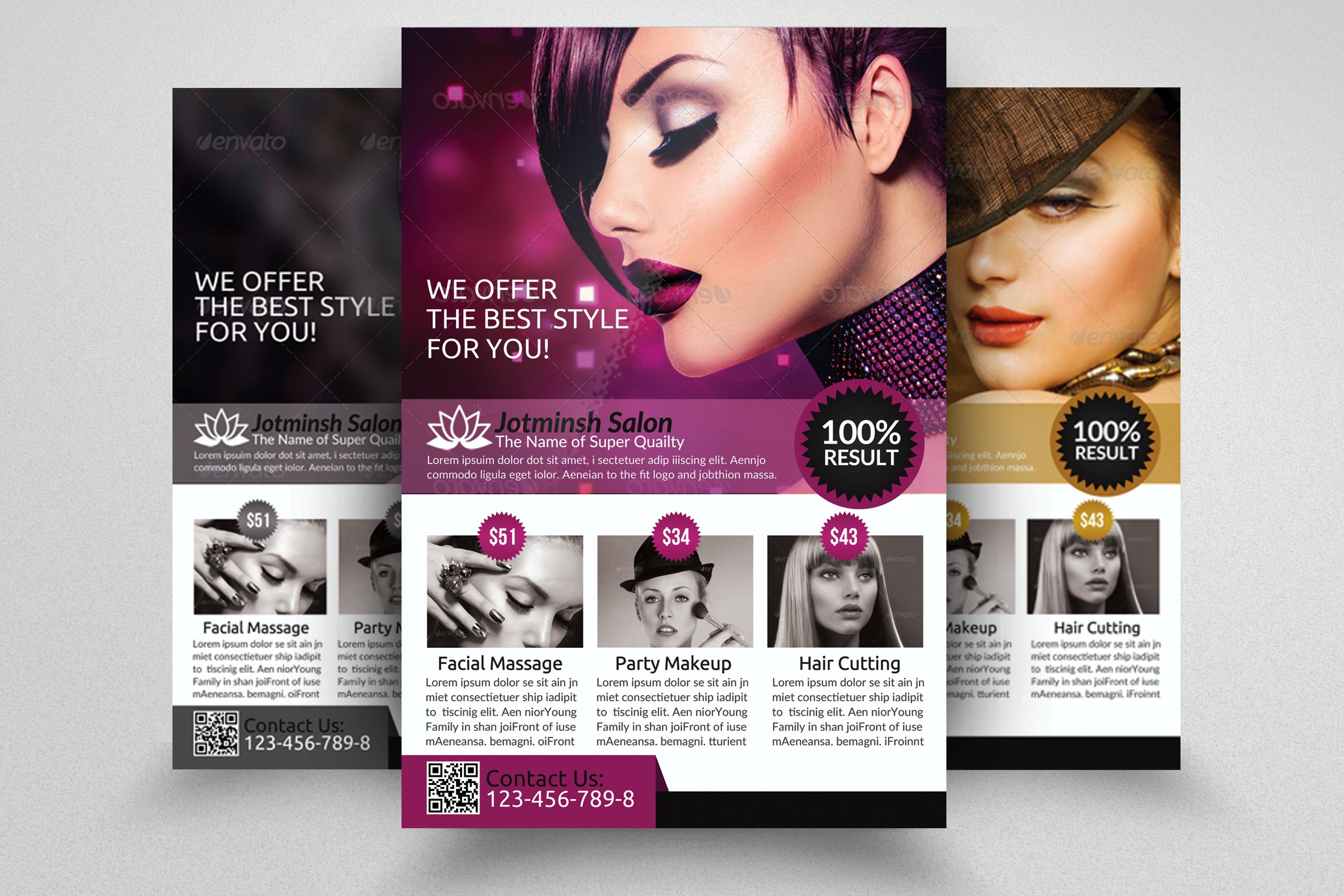 Beauty salon flyer template flyer templates creative for Cosmetology portfolio template