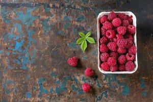 Box of fresh raspberries