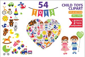 Children toys clipart.54 flat vector