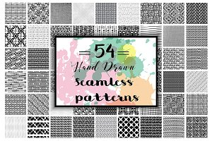54 Hand Drawn seamless patterns.