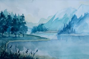 Artistic Watercolor Landscape