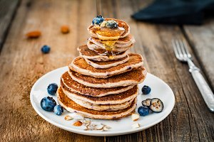 Honey over pancakes