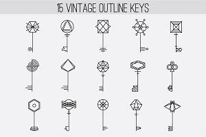 Vintage Outline Keys Set