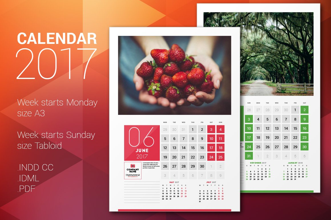 Creative Wall Calendar Design : Wall calendar stationery templates creative market