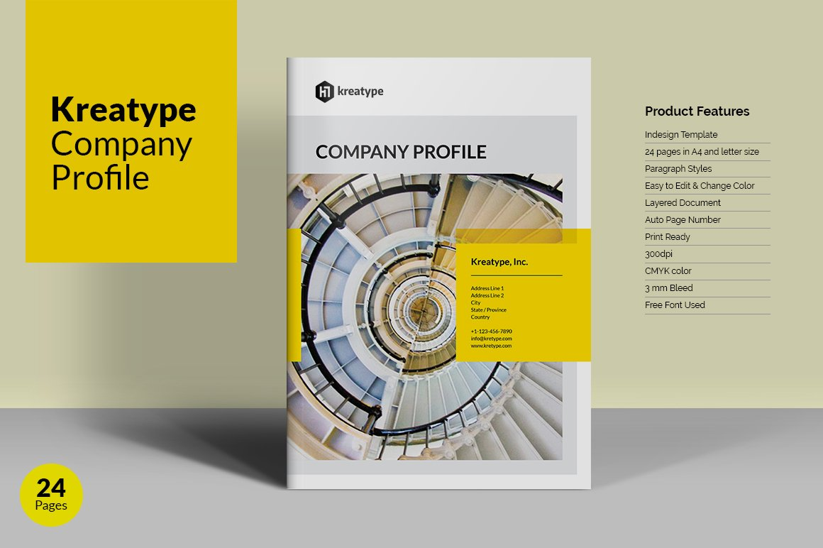Kreatype company profile brochure templates creative for Company profile brochure template