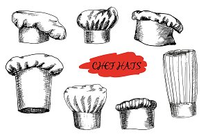Set of hand drawn chefs hats