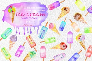Ice cream watercolor set