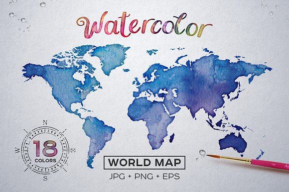 Watercolor World Maps JPG+E-Graphicriver中文最全的素材分享平台