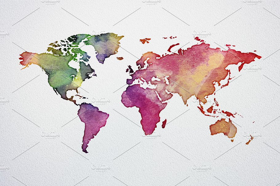 Watercolor world map poster pack illustrations creative market pro previous gumiabroncs