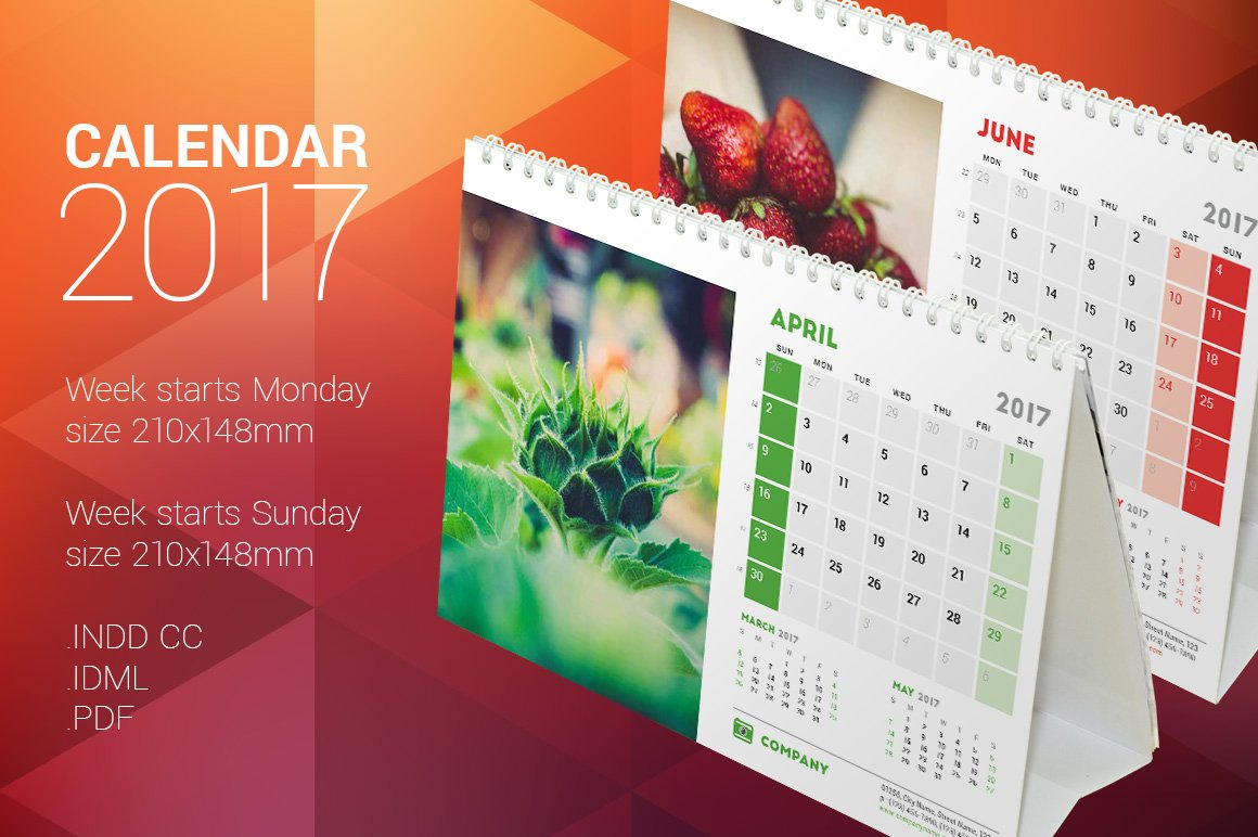 Calendar Design With Pictures : Desk calendar stationery templates creative market