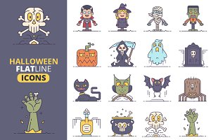 Halloween Flat Line Icons Vol.2