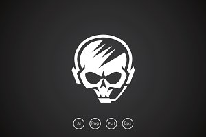 Hardcore Skull Gamer Logo Template