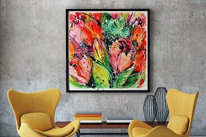 Abstract bouquet of tulips