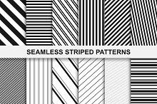 Striped seamless patterns set.