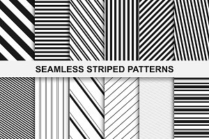 Striped seamless patterns set.