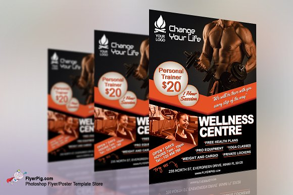 Gym Fitness Flyer Template Flyer Templates Creative Market – Free Fitness Flyer Templates