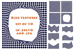 Blue halftone textures.