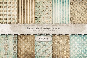 Printable Papers - Aged Aqua