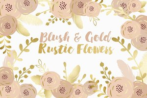 Blush & Gold Rustic Flowers