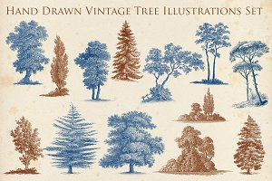 Hand Drawn Vintage Tree Set 1